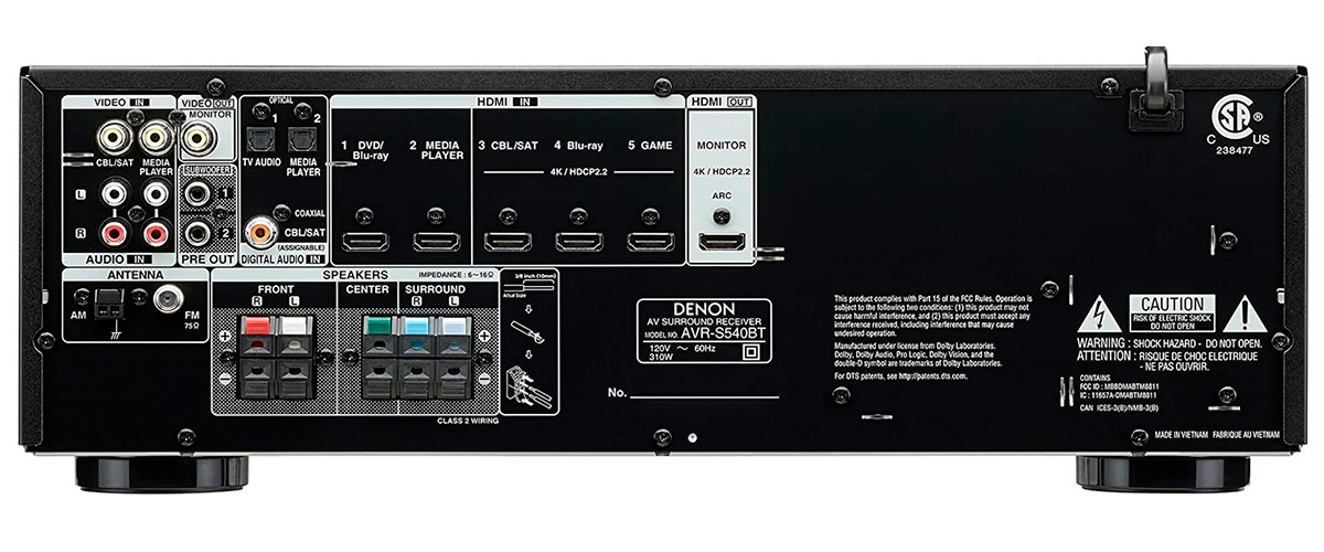 Denon AVR-S540BT inputs and outputs